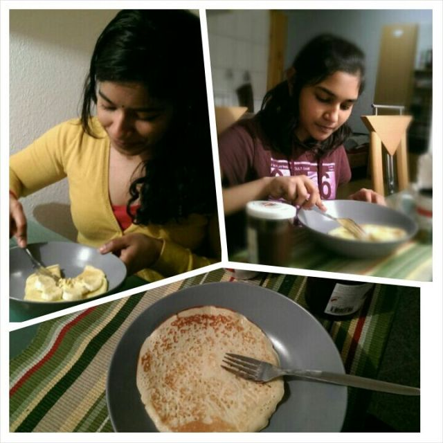 ~Me and akka eating pancakes for supper