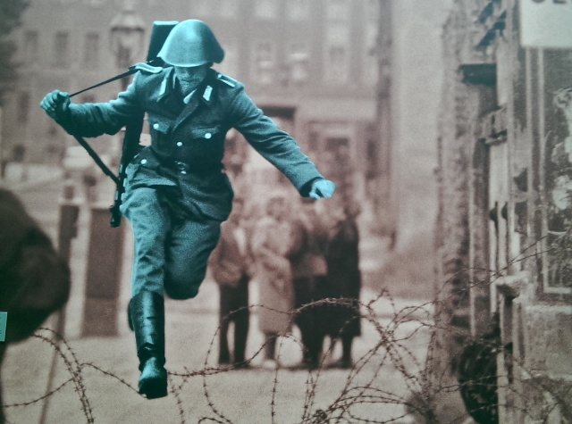~A soldier jumping over to the other side of Germany