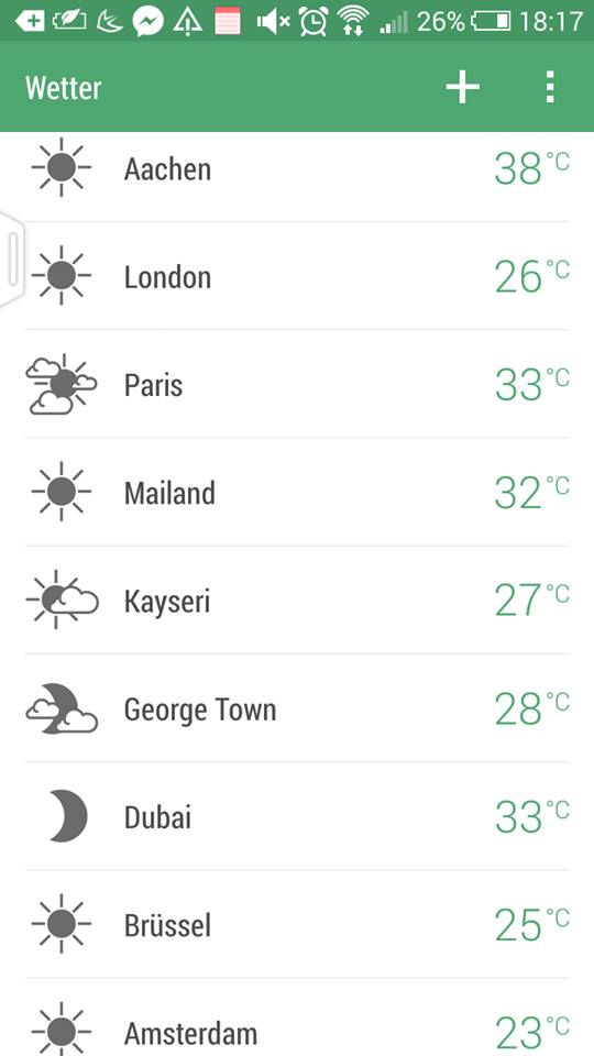 ~Temperature screen shot of Aachen (Where I`m at) from my HTC